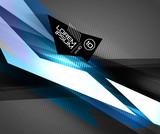 Vector futuristic glossy lines on black