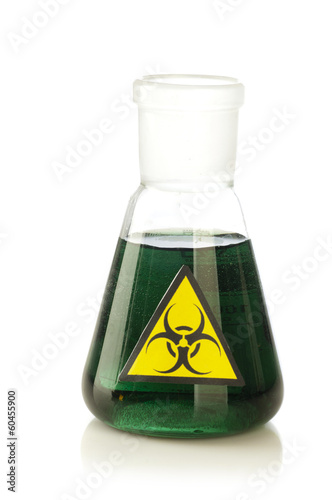 Medical tube with symbol biohazard