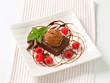 Chocolate Brownie with ice cream and raspberries