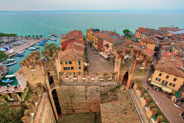 View on Sirmione and Lake Garda from castle.