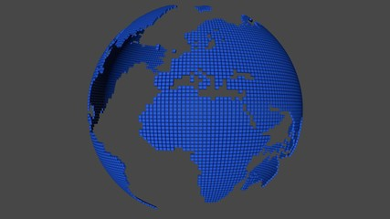 Dotted world map rotating with alpha channel and also loopable