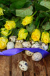 yellow ester roses and eggs
