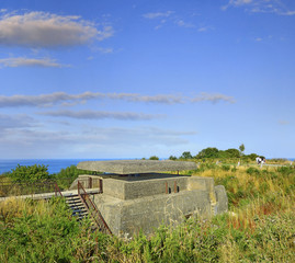Old broken German bunkers of Atlantic Wall of Longues sur Mer