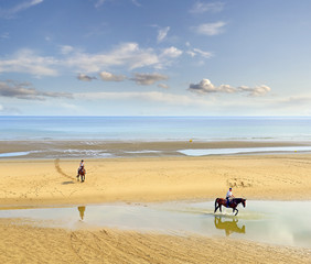 Horseman on the beach, Omaha Beach now, Normandy, France