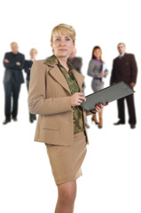 Business woman holding a folder.