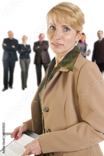 Business woman holding a folder.