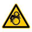 wso38 WarnSchildOrange - english warning sign: danger pinch point hazards - German Warnschild: Quetschgefahr Klemmgefahr durch Zahnräder - Hand Einzugsgefahr - g446