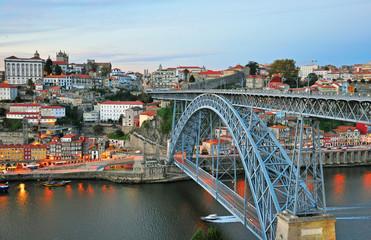 Porto cityscape on sunset