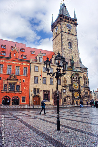 Astronomical Clock tower at morning in old town Prague