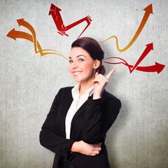 junge Geschäftsfrau mit Ideen