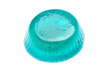 Blue jelly isolated on the white background