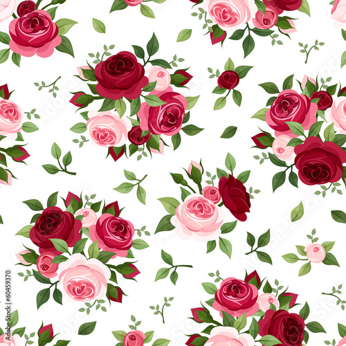 Tapeta Seamless pattern with red and pink roses. Vector illustration.