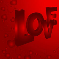 Love with a Red Background and Hearts