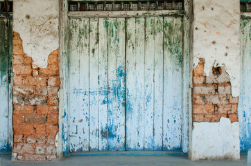 Old blue wood door.