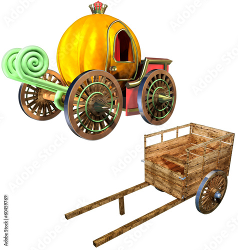 Carriage of pumpkin  and Cart set