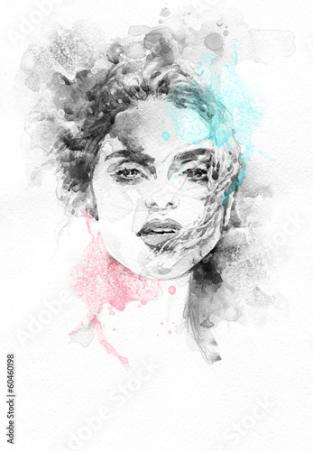 Beautiful woman .  Hand painted fashion illustration - 60460198