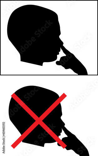Isolated Silhouetted Boy Child Picking Nose Vector