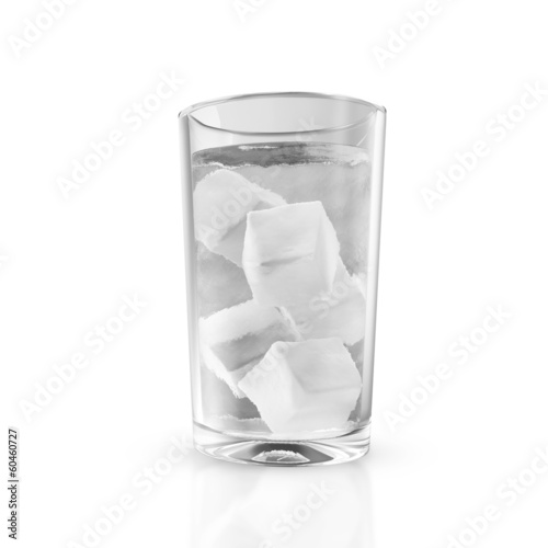 Glass of water with ice cubes isolated on white