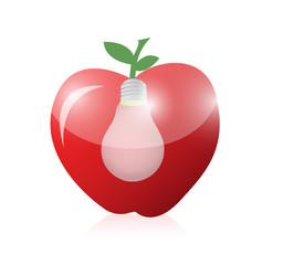 apple and light bulb illustration design