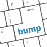 Computer keyboard with bump key. business concept