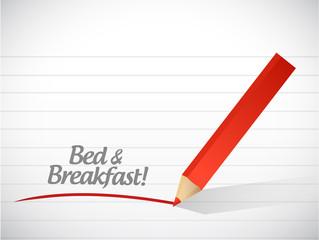 bed and breakfast message illustration design