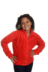 Little girl wearing red sweater