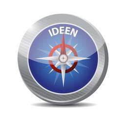 ideen compass. idea in german. illustration