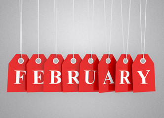 February tag on red hanging labels. February promotions.