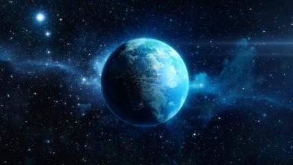 Planète Terre 3D sur fond d'étoile