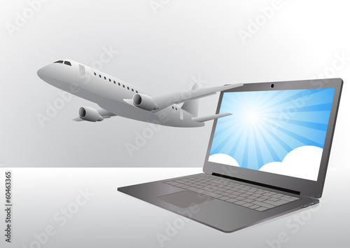airplane and laptop