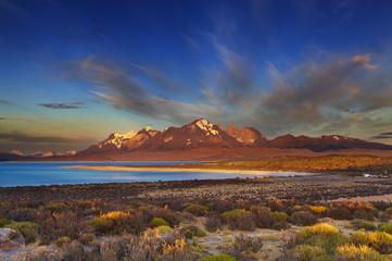 Sarmiento lake, sunrise, Torres del Paine National Park, Patagon