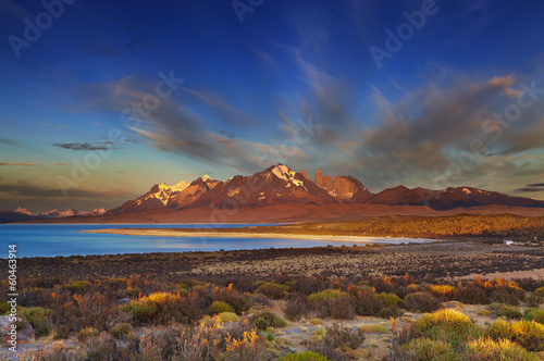 Sarmiento lake, sunrise, Torres del Paine National Park, Patagon