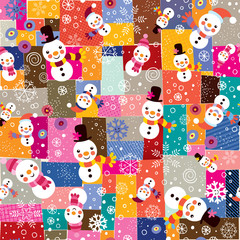 Christmas snowman & snowflakes collage pattern