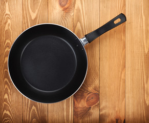 Frying pan on wooden table