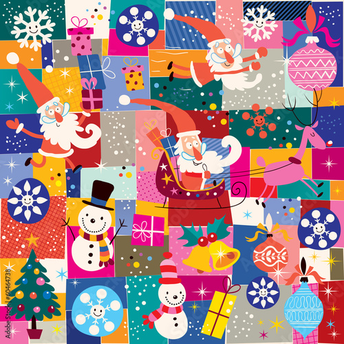 Cotton fabric Christmas pattern