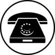 Постер, плакат: illustration of a rotary phone black