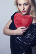 Beautiful Blond Woman with Red Heart.Love Symbol.Valentine's