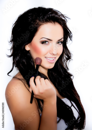 canvas print picture Portrait of beautiful young woman with long colored brown hair