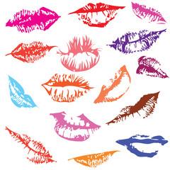 Set of glossy lips in tender kiss.