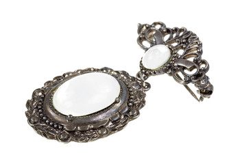 Antique brooch with mother of pearl
