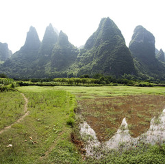 karst mountain landscape of xingping guangxi china