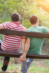 Gay couple in the park
