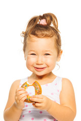Smiling girl with donut