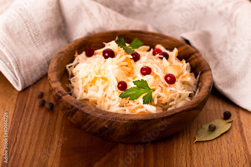 Wooden bowl of sauerkraut
