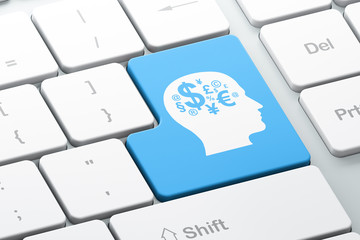 Advertising concept: Head With Finance Symbol on computer