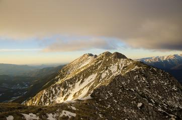 Sunrise on the mountain ridge