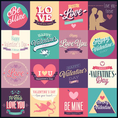 Valentine`s day set - emblems and other decorative elements.