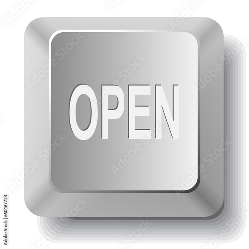 Open. Vector computer key.