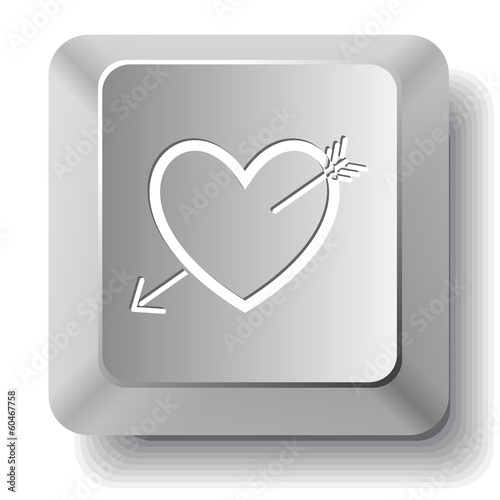 Heart and arrow. Vector computer key.