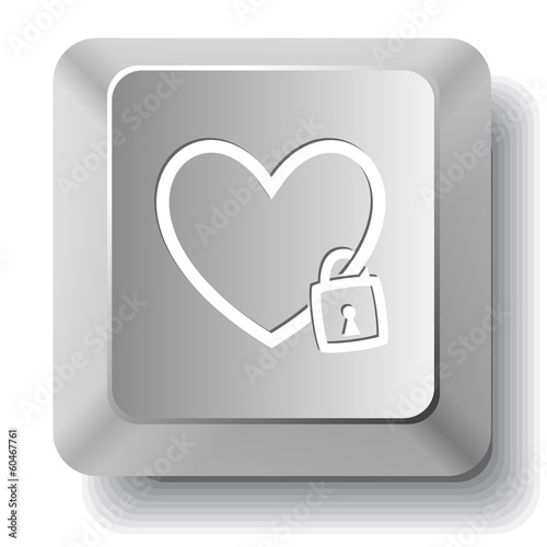 Closed heart. Vector computer key.